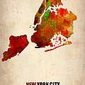 New York City Watercolor Map 2 Print by Irina  March