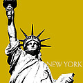 New York Skyline Statue of Liberty - Gold Print by DB Artist