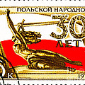 Nike holding a Sword with the Polish Flag Behind Print by Jim Pruitt
