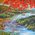 Nixon's Brilliant View of Fall Alongside the Rapidan River Print by Lee Nixon