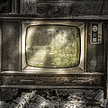 No One's Watching - Vintage Television in an old barn Print by Gary Heller
