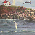 Nubble Lighthouse Poster by Bev Finger