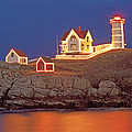 Nubble Lighthouse-Holiday lights Poster by John Vose
