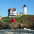 Nubble Lighthouse One Print by Barbara McDevitt