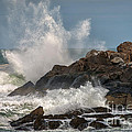Nubble Lighthouse Waves 1 Poster by Scott Thorp
