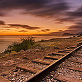 Oahu Rail Road Track Sunset Print by Tin Lung Chao