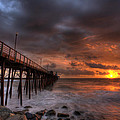 Oceanside Pier Perfect Sunset Poster by Peter Tellone