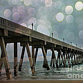 Oean Pier - Surreal Stormy Blue Pier Beach Ocean Fishing Pier With Bokeh Print by Kathy Fornal