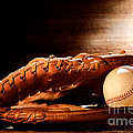 Old Baseball Glove Print by Olivier Le Queinec