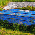 Old blue boat Print by Garry Gay