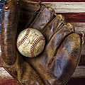 Old mitt and baseball Poster by Garry Gay
