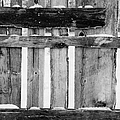 old patched up wooden fence using old bits of wood in snow Forget Print by Joe Fox