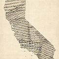 Old Sheet Music Map of California Print by Michael Tompsett