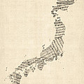 Old Sheet Music Map of Japan Print by Michael Tompsett