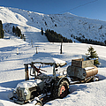 Old tractor in winter with lots of snow waiting for spring Poster by Matthias Hauser