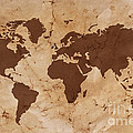 Old World map on creased and stained parchment paper Poster by Richard Thomas