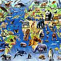 One Hundred Endangered Species Print by Adrian Chesterman