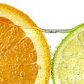 Orange and lime slices in water Poster by Elena Elisseeva