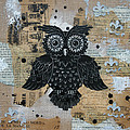 Owl on Burlap2 Print by Kyle Wood