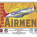 P-51 D Tuskegee Airmen Print by Kenneth De Tore