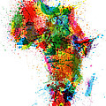 Paint Splashes Map of Africa Map Poster by Michael Tompsett