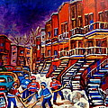 PAINTINGS OF MONTREAL HOCKEY ON DU BULLION STREET Print by CAROLE SPANDAU