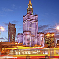 Palace of Culture and Science in Warsaw at Dusk Print by Artur Bogacki