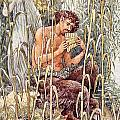 Pan Playing His Pipes Print by Walter Crane