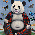 Panda Buddha Print by James W Johnson