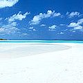 Panorama of deserted sandy beach and island Maldives Poster by Matteo Colombo