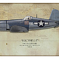 Pappy Boyington F4U Corsair - Map Background Poster by Craig Tinder