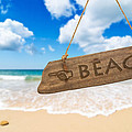Paradise Beach Sign Algarve Portugal Print by Christopher and Amanda Elwell