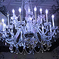 Paris Blue Crystal Chandelier Sparkling Chandelier Art - Paris Blue Shimmering Chandelier Art Deco  Print by Kathy Fornal