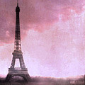 Paris Dreamy Pink Eiffel Tower Abstract Art - Romantic Eiffel Tower With Pink Clouds Poster by Kathy Fornal