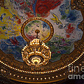 Paris Opera des Garnier Ornate Ceiling Architecture and Opera House Chandelier Ceiling Print by Kathy Fornal