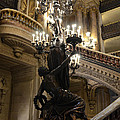 Paris Opera House Grand Staircase and Chandeliers - Paris Opera Garnier Statues and Architecture  Print by Kathy Fornal