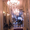 Paris Pink Hotel Lobby Interiors Pink Posh Hotel Interior Arch and Chandelier Hallway Print by Kathy Fornal