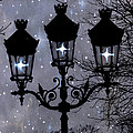 Paris Street Lights Lanterns - Paris Starry Night Dreamy Surreal Starlit Night Street Lamps of Paris Print by Kathy Fornal