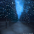 Paris Tuileries Trees - Blue Surreal Fantasy Sparkling Trees - Paris Tuileries Park Print by Kathy Fornal