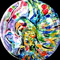Parrot Plate  Print by Martha Nelson
