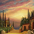 Patio il Tramonto or Patio at Sunset Poster by Evie Cook