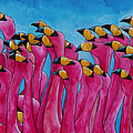Peace Love And Flamingos Poster by Patti Schermerhorn