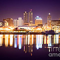 Peoria Illinois at Night Downtown Skyline Print by Paul Velgos