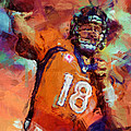 Peyton Manning Abstract 4 Print by David G Paul