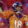 Peyton Manning Abstract 5 Print by David G Paul