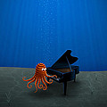 Piano Playing Octopus Poster by Sanely Great