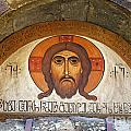 Picture of Jesus inside the Tsminda Sameba Cathedral Tbilisi Print by Robert Preston