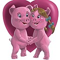 pigs in love Print by Martin Davey