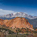 Pikes Peak Behind Garden of the Gods Poster by Ernie Echols