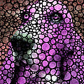 Pink Stone Rock'd Basset Hound Pop Art By Sharon Cummings Poster by Sharon Cummings